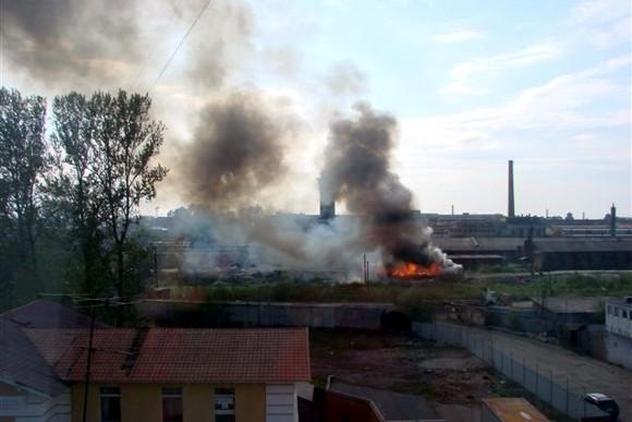Рядом с Московским проспектом сгорел вагон: Фото