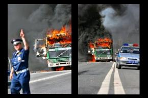 На Черной речке грузовик сгорел за пару минут