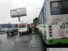 На Выборгском шоссе автобус въехал в мусоровоз: Фоторепортаж