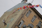 На улице Ленина граффитисты открыли красивую стену: Фоторепортаж
