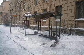На улице Савушкина льдом вдребезги разбили остановку