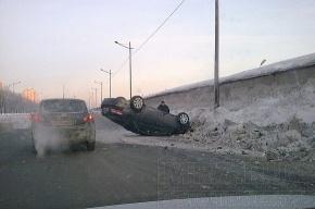 На Витебском проспекте перевернулась машина