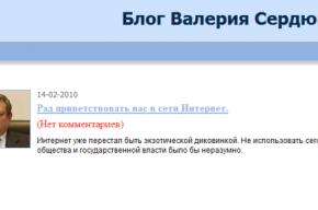 У Валерия Сердюкова появился блог