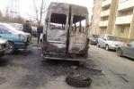 На Народной улице маршрутка сгорела дотла: Фоторепортаж