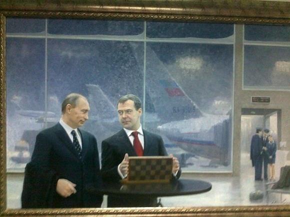 Как Путин и Медведев «режутся» в шахматы: Фото