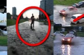 После дождя на проспекте Стачек можно заняться серфингом