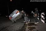 Активисты «Войны» перевернули милицейский автомобиль: Фоторепортаж