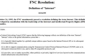 Термин «Интернет» 15 лет назад получил определение