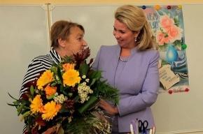 Жена Медведева сходила в родную купчинскую школу