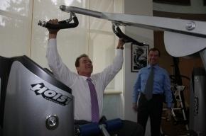 Медведев и Шварценеггер посетили спортзал