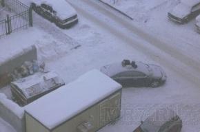 Загородившую помойку машину заваливают мусорными пакетами
