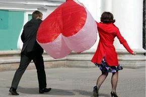 В День святого Валентина влюбленные пары будут целоваться в центре города