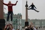 На Дворцовой площади летали молодые люди: Фоторепортаж