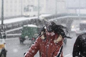 В ночь с 8 на 9 апреля в Москве пошел сильный снегопад