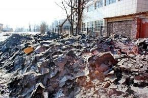 Пустырь на Петроградке превратили в огромную свалку снега и мусора