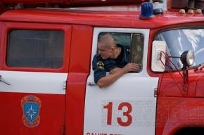 Горит микроавтобус в районе поселка Агалатово