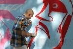 Петербургские граффитисты расписали щиты в центре города: Фоторепортаж