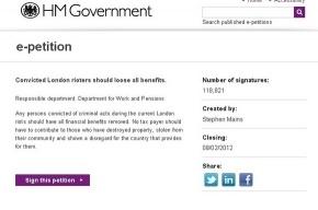 В Британии 118 тысяч человек высказались за лишение погромщиков социального жилья и пособий
