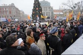 По данным петеребургской полиции вчера митинговали 2,5 тысячи человек