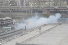 На съезде с ЗСД загорелся грузовик. Фото с места происшествия