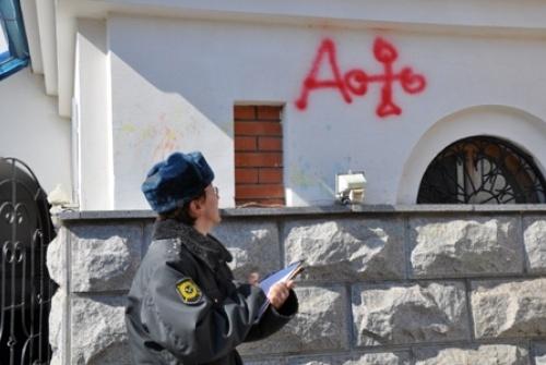 В Хабаровске православный собор исписали матерными словами: Фото