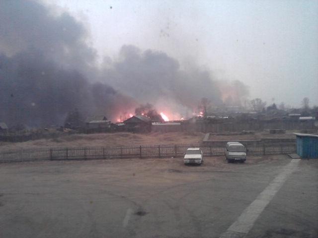 Пожар в поселке Тыгда Амурской области: Фото