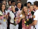 Встреча олимпийцев в Шереметьево: Фоторепортаж