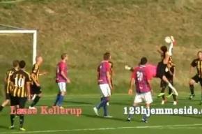 Датский вратарь забил ударом через себя и сравнял счет на последней минуте