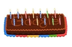 Google празднует свое 14-летие шоколадным тортом на главной странице