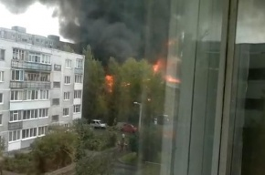 В Калининграде локализован пожар площадью 9 тысяч кв. метров (смотреть)