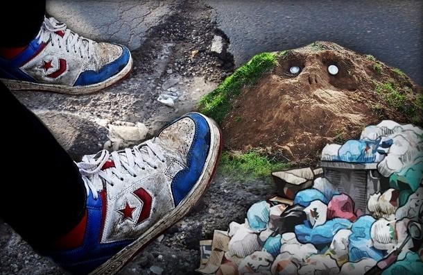 Страх и ужас на улице Коллонтай в Петербурге: грязь, ямы, мусор (смотреть)