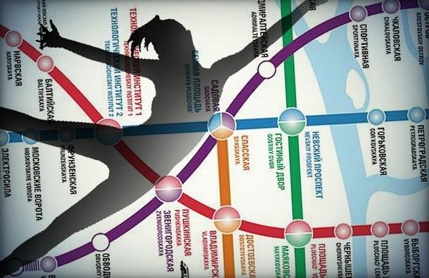 Фиолетовая ветка метро Петербурга встала из-за падения человека на рельсы