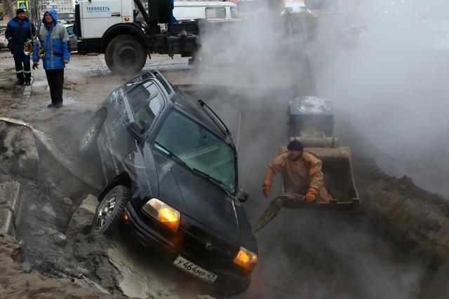 Прорыв трубы, Васильевский, Детская, 4 декабря 2012: Фото