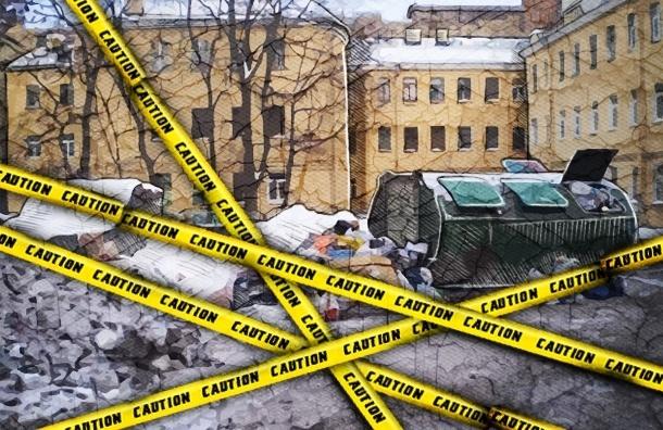 Васильевский остров зимой: свалки и автохлам под слоем неубранного снега
