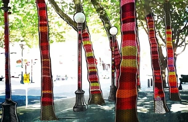 Новое хобби петербуржцев: вязать одежду для деревьев