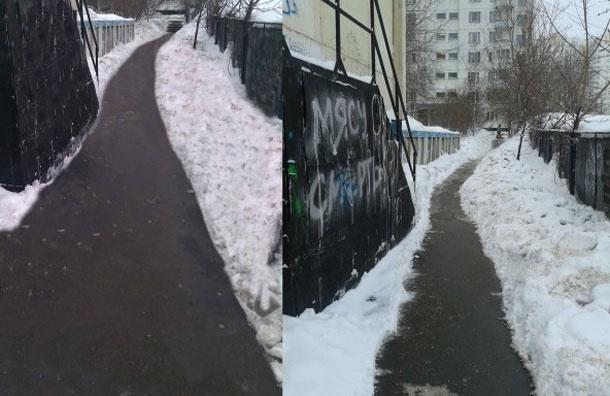 Блогер заметил, как московские коммунальщики убирают снег …  Photoshopом