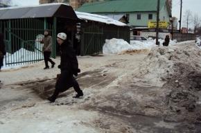 Из-за плохой уборки снега пешеходная дорога к Центру Алмазова угрожает здоровью беременных и пенсионеров