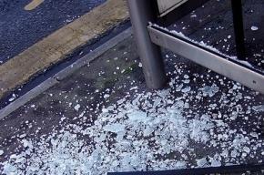 Трое с железными прутьями за несколько минут полностью уничтожили автобусную остановку