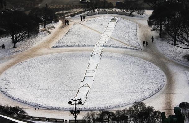 Возле Заксобрания Петербурга появился 80-метровый баннер «Нерабочий орган»