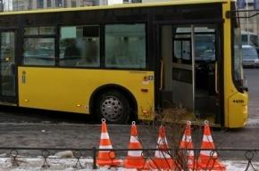 Пассажирский автобус сбил рекламный щит и врезался в дерево на Московском проспекте