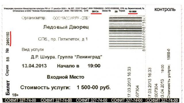 Фальшивый билет на «Ленинград»: Фото