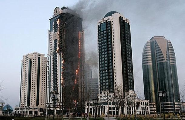 Горит высотка «Олимп» в Грозном-сити, квартира Жерара Депардье не пострадала