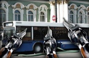 В Купчино обстреляли маршрутку, разбив стекло