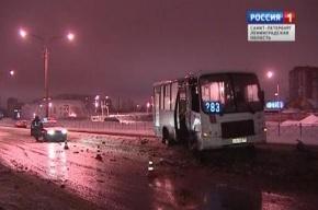 В Петербурге маршрутка врезалась в столб из-за гололеда