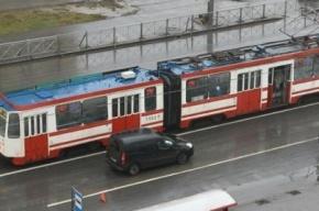Трамвай-гармошка сошел с рельсов и «порвался» в центре Петербурга