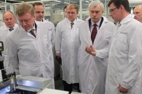 Полтавченко и Чубайс открыли производство светодиодных фонарей в Петербурге