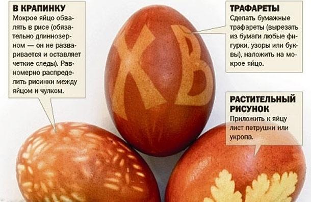 Чулок, нитки и луковая шелуха: красим пасхальные яйца