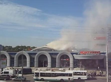 Пожар в ТРК «Континент» на улице Ленсовета: Фото