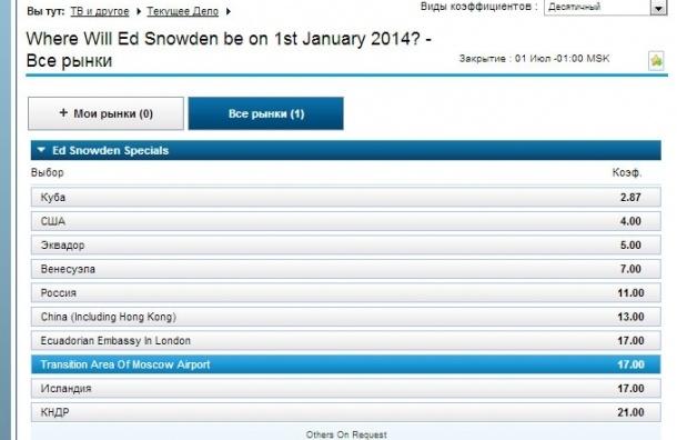 Букмекеры принимают ставки на Сноудена