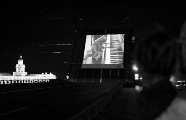 На разведенном Троицком мосту будут показывать мультфильмы